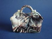 Rare Sowerby Purple Malachite Slag Glass 'Gladstone Bag' Wall Pocket c1880